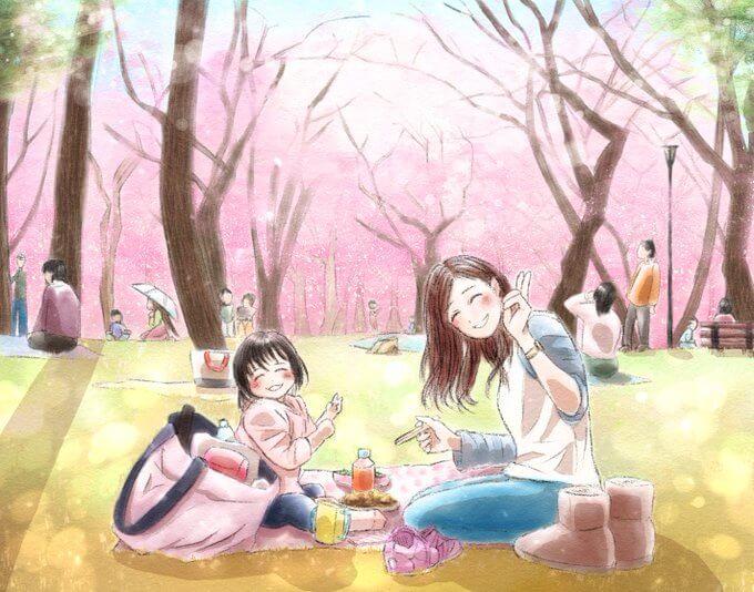 満開の桜の木の下で。親子で幸せなお花見のイラスト