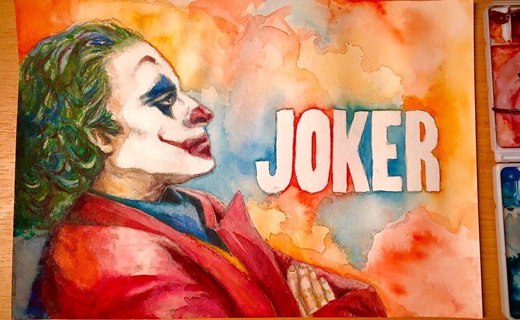 映画ジョーカー考察、透明水彩イラスト。ホアキンのメイク写真を模写
